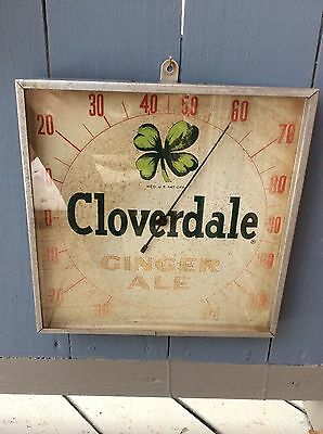 Rare  Collectible  Vintage  Cloverdale  Ginger Ale  Advertising  Thermometer