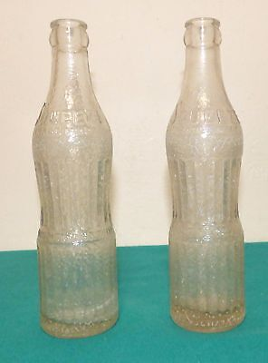 Lot of 2 Vintage Glass Soda Pop Bottles - Squeeze