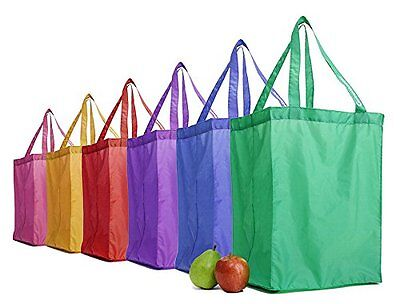 GreenShopper Shopping Totes - Reusable Grocery Bags - Rainbow Set of 6