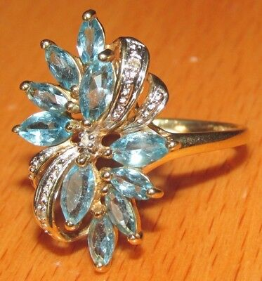 STUNNING SECONDHAND QVC 9ct YELLOW GOLD  TOPAZ & DIAMOND CLUSTER RING SIZE P