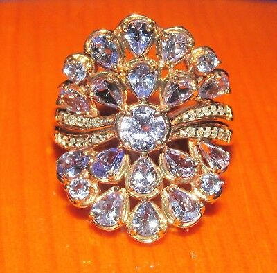 BEAUTIFUL SECONDHAND 9ct YELLOW GOLD SAPPHIRE & DIAMOND CLUSTER  RING SIZE O
