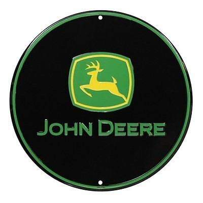 John Deere Round Sign, Black and Green TM