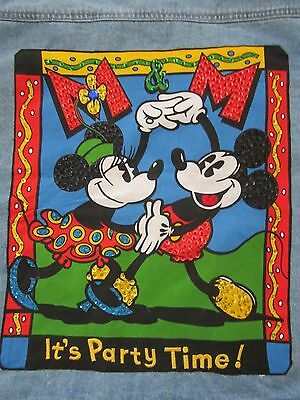 """New Disney Mickey & Co. Blue Denim Jacket """"it's Party Time"""" Embroidered Back-Nwt"""