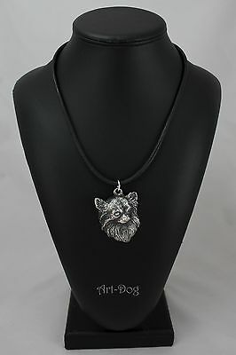 Chihuahua(longhaired), silver covered necklace, high qauality Art Dog