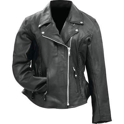 Rocky Mountain Hides Ladies Genuine Buffalo Leather Motorcycle Jacket BKLMJSLB