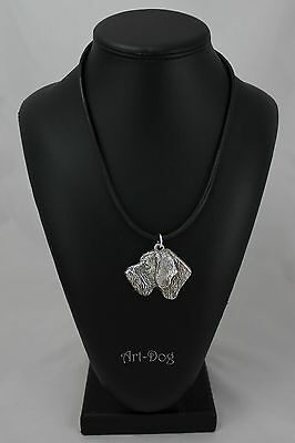 German Wirehaired Pointer, silver covered necklace, high qauality Art Dog