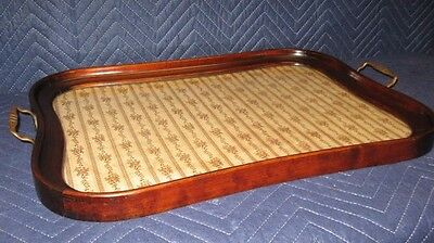 BEAUTIFUL ANTIQUE SERPENTINE MAHOGANY SERVING TRAY TEA TRAY w/ BRASS HANDLES