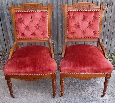 Pair Excellent Antique Victorian EASTLAKE Upholstered Red Velvet Parlor Chairs