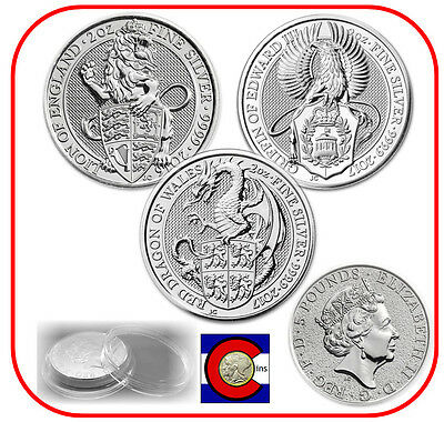 2016 & 2017 Queen's Beast Lion, Griffin & Dragon Silver Coins w/ Screw Capsules