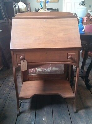Antique Drop Front Solid Wood Secretary Desk c.1910