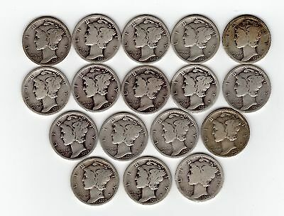 Lot Of 17 Mercury Dimes - All 1923, All Phila. - Very Clear Dates - 90% Silver