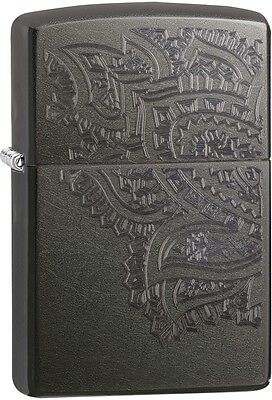 Zippo Iced Paisley Double Sided Shadowy Gray WindProof Lighter NEW 29431