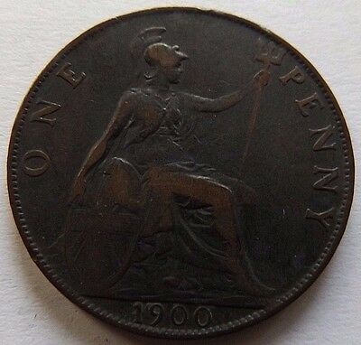 1900 Great Britain Large Penny! Vf! Nice Details Still!