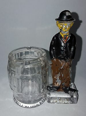 Antique Charlie Chaplin Figural Glass Candy Container Toothpick Holder