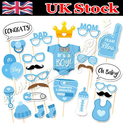 25pcs Baby Shower Boy Mini Mister Photo Booth Props Party Decorations in Blue