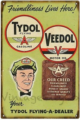 """Antique Style """"Tydol Flying A Gasoline - Veedol Motor Oil"""" Metal Sign - Rusted"""