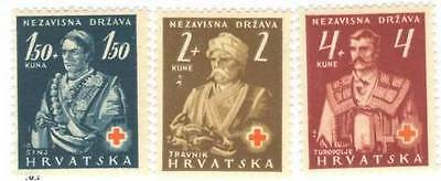 Croatia Stamps 1943 Red Cross B3-5 lh