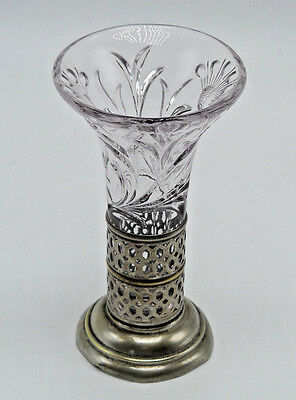 ANTIQUE E & J B Silverplate Floral Pressed Glass Bud Vase Bradbury Sheffield
