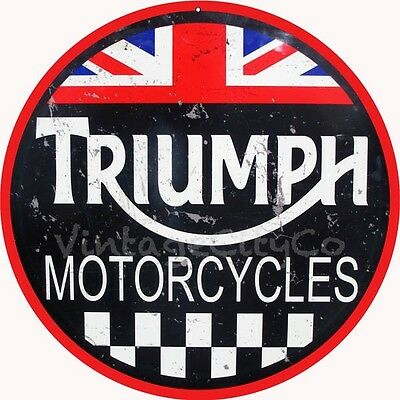 """Antique Style """"Triumph Motorcycles"""" British Logo Advertising Metal Sign - Rusted"""