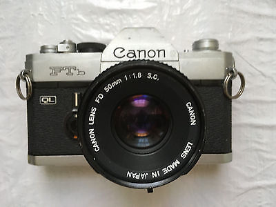Vintage Canon FTb SLR Film Camera with FD 50mm 1:1.8 Lens