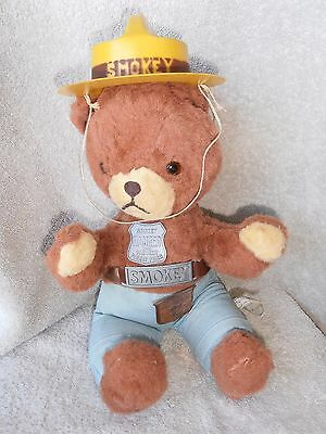 Vintage 1960's Ideal Smokey the Bear Teddy Doll Nice w/ Hat + jUNIOR bADGE