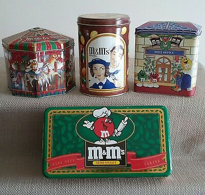 Vintage M & M Assortment of Candy Tins Lot of 4