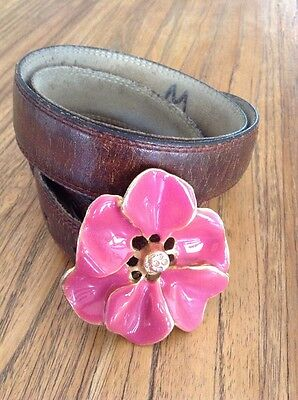 Rare B-Low the Belt Darling Enamel Rhinestone Flower Buckle Brown Leather Belt