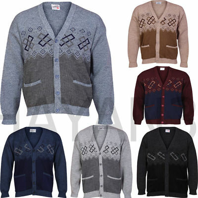 New Men Button Front Cardigan Granddad  With Two Front Pockets SIZES-S,M,L,XL