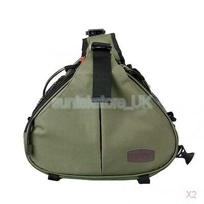 2x Portable DSLR Camera Bag Backpack Case Shockproof For Canon D600 600D Green