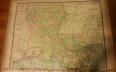Antique Louisiana Map,New Orleans,Mississippi,Original,Colored,River,LA,Rare