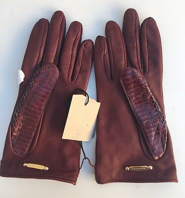 New Burberry Womens Size 7.5 Silk Lined Genuine Snakeskin Cleo Tags Gloves $495