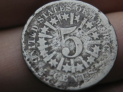 1866 Shield Nickel 5 Cent Piece- with Rays