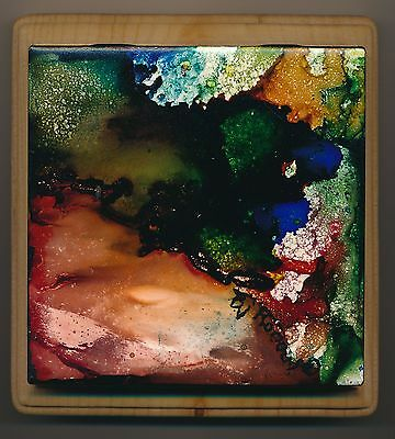 ABSTRACT IMAGE ON CERAMIC TILE MOUNTED ON BOARD  Direct fr Artist