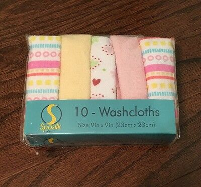 Brand New Spasilk 10 pack Of Washcloths - 9 Inch Square