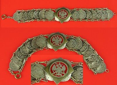 Marvellous chain Russian coins Trench Art Poland Russia Eagle Germany antique