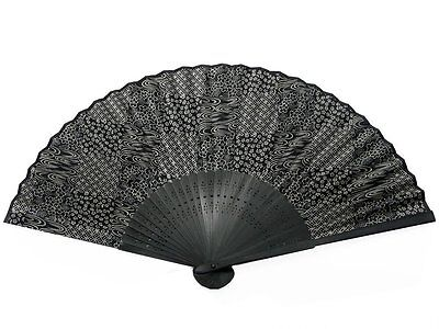 Japanese Design Silk Handheld Folding Fan, Black Swirls and Patterns HF-205-BK