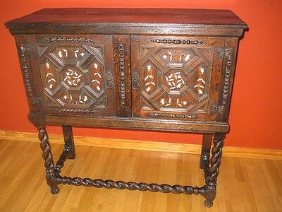 Antique Oak Cabinet on Stand