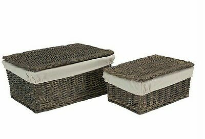 wicker storage basket with lining and lid gift hamper set of 2 medium large
