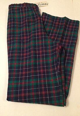NWT Vintage Women's Pendleton Virgin Wool Plaid Pants Ugly Christmas Party Sz 12
