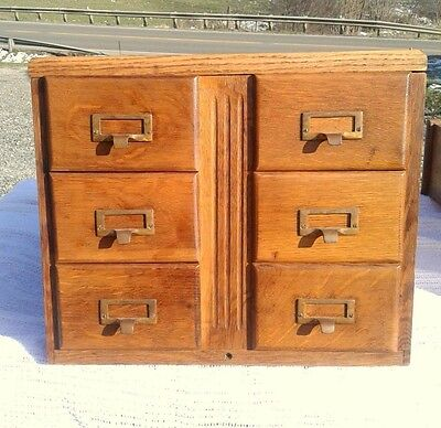Antique Tiger Oak 6 Drawer Library File Card Cabinet Circa 1920 Brass Hardware