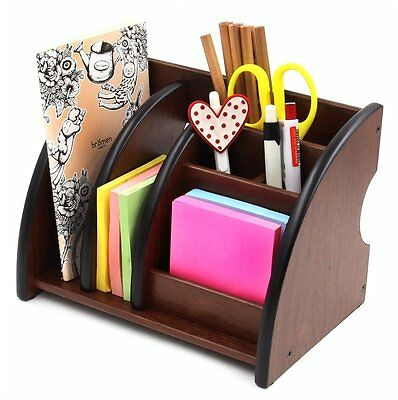 PAG 6 Compartments Wooden Desk Accessories Organizer Pencil Holder Caddy, Brown
