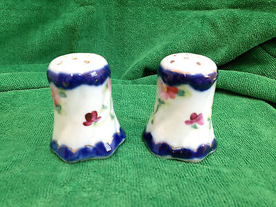 Antique Salt And Pepper Shakers Flowers Hand Painted Porcelain - Euc