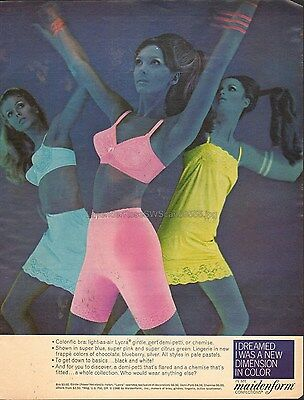 Ladies Bra Panties Slip Lacy Maidenform in Color Vintage Print AD