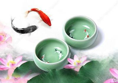 2pcs Chinese Collection brother kiln plums Porcelain Two Fish Kung Fu Tea Cup