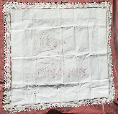 C. 1920's Vintage Embroidered GOOD MORNING Linen Tapestry Pillow Face