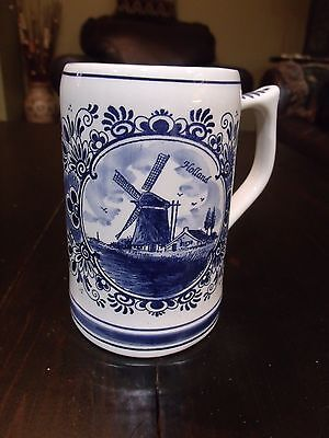 Vintage Ceramic Stein By Delft Blue Handpainted Holland Windmill Canal