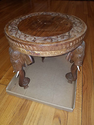 """Hand Carved wooden Elephant table (12"""" high x 12""""wide) ornate carving from India"""