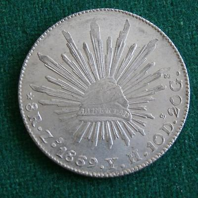 1869 Mexico Silver 8 Reales Coin Zs YH radiant cap AU