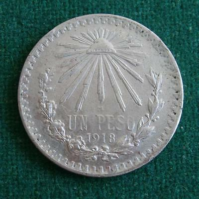 1918 Mexico Silver Coin 1 Peso Radiant Cap  Key Date