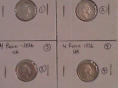 Great Britain UK 1836  4 pence coins (Groat) 4 coins in lot - REDUCED